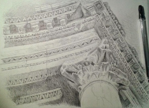 Ruinas de Emérita (28 x 21, boli negro sobre papel de esbozo)