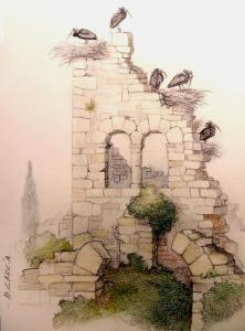 Ruinas con colonia de Ibis (boli Bic y lápices de colores)